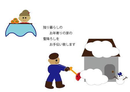 独り暮らし老人宅の雪除けボランティア