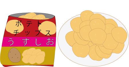 ポテチを取り、食べる